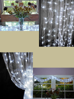 White Organza LED Lighted Curtain - 8 FT and 12 FT Long