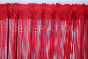 Red String Curtains - 3 Feet by 12 Feet