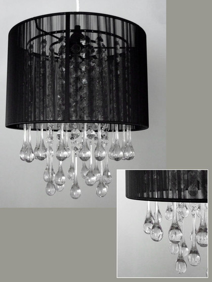 Black fabric chandelier with hand strung acrylic rain drops