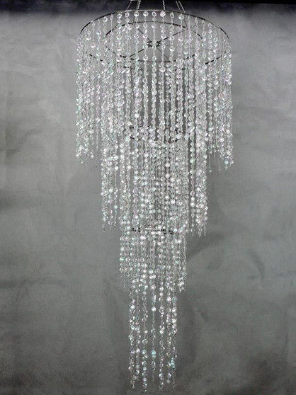 """Beaded Chandelier with Large Diamond Cut beads  4 Tiered 72"""" Long"""