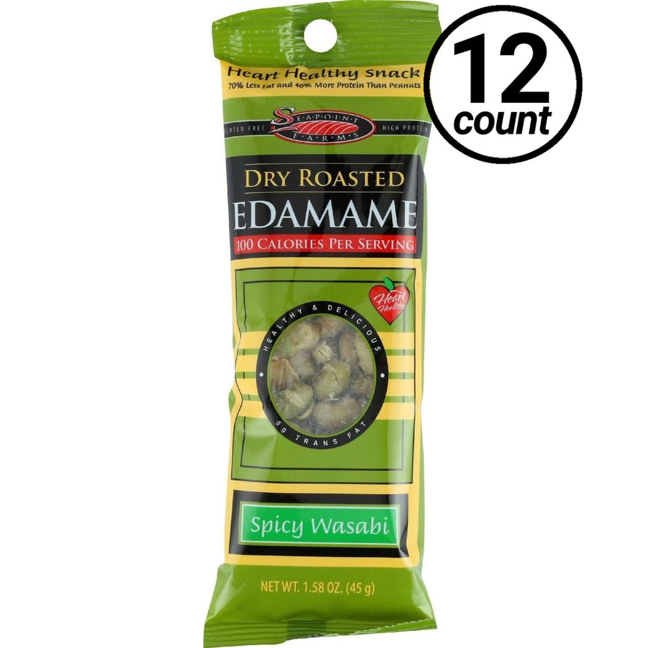 Sea Point Farms, Dry Roasted Edamame, Spicy Wasabi, 1 58 oz  (12 Count)