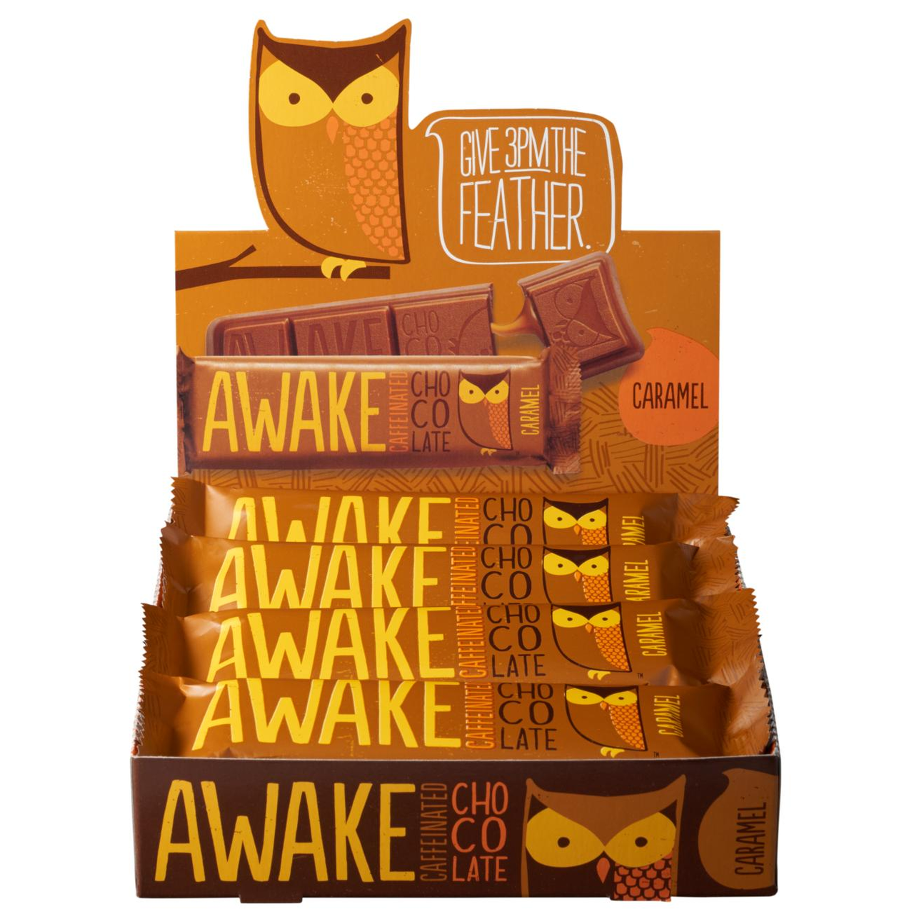 Awake Chocolate, Caffinated Chocolate Bar Caramel, 1.55 oz. Bar (12 Count) - RocketDSD