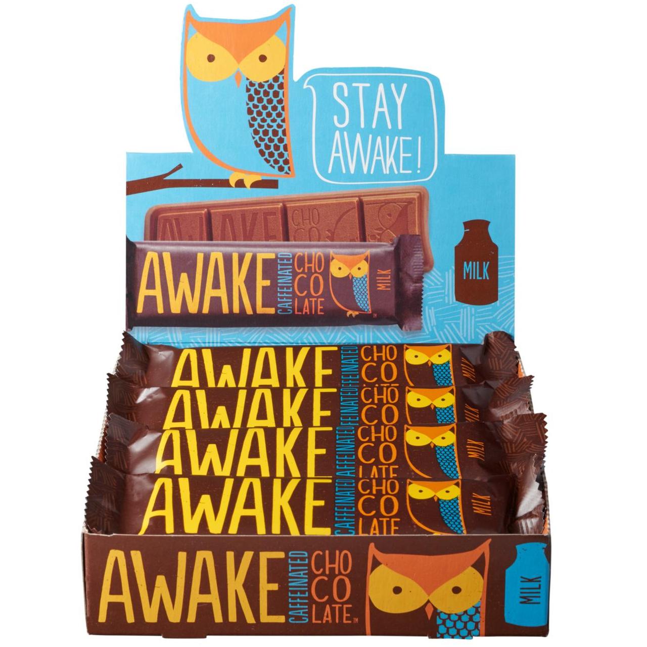 Awake Chocolate, Caffinated Chocolate Bar Milk Chocolate, 1.55 oz. Bar (12 Count) - RocketDSD
