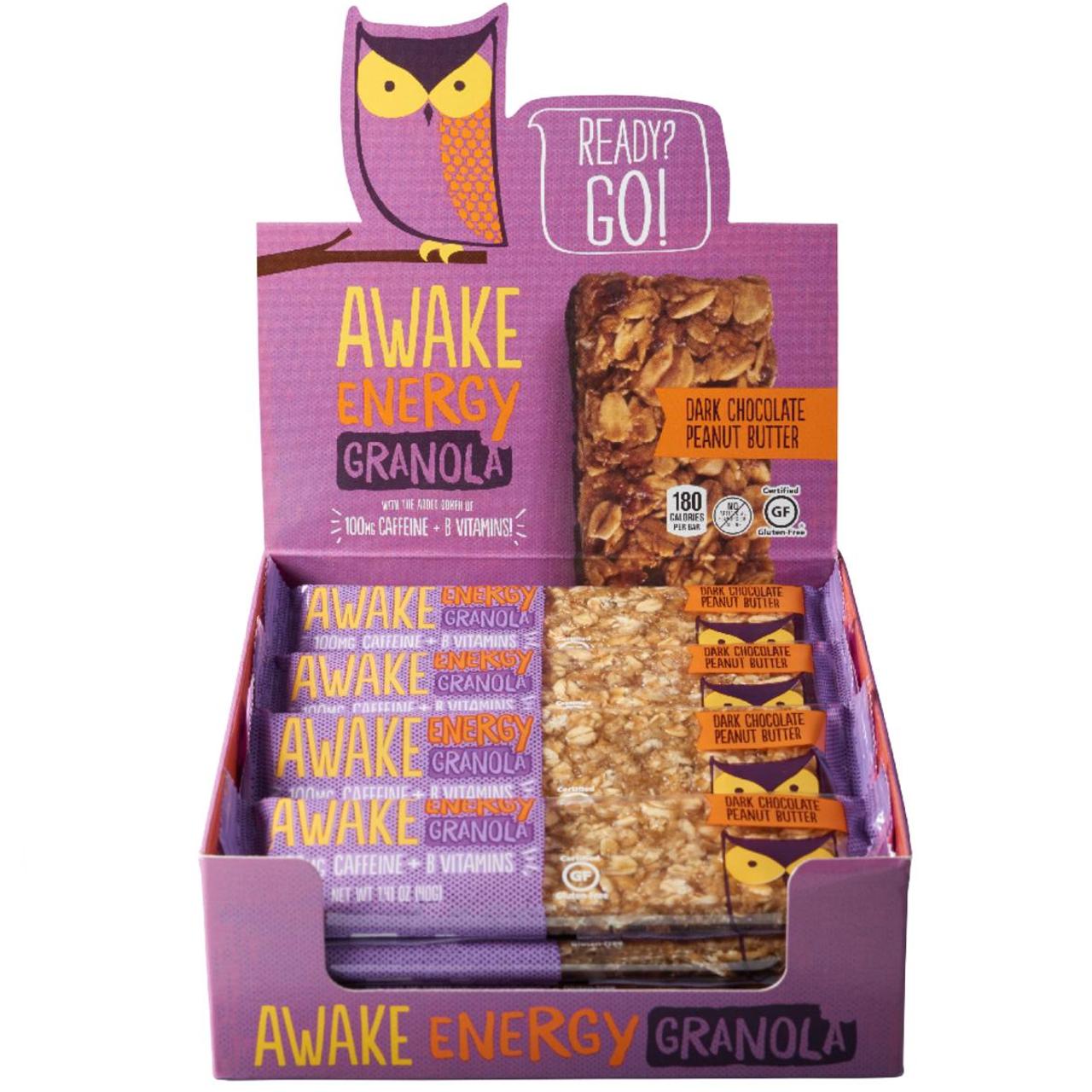 Awake Chocolate, Energy Granola Bars, Dark Chocolate Peanut Butter, 1.41 oz. (16 Count) - RocketDSD