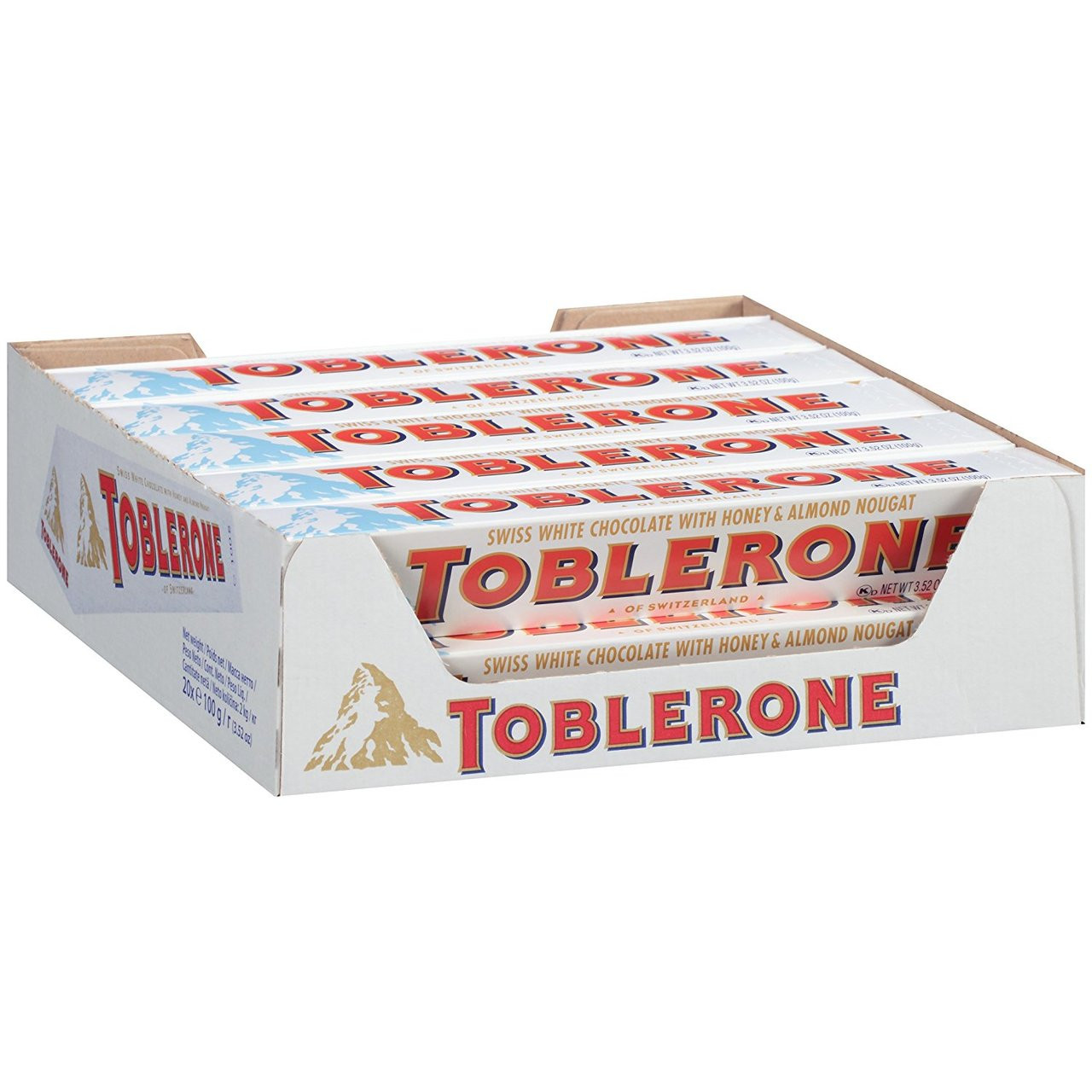 Toblerone Swiss White Chocolate With Honey And Almond Nougat 352 Oz 20 Count