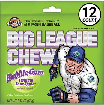 Big League Chew, Bubble Gum, Swingin' Sour Apple, 2.12 oz. Bag (12 Count)