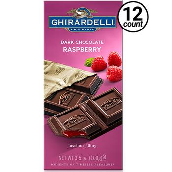 Ghirardelli Chocolate, Dark Chocolate & Raspberry, 3.5 oz. (12 Count)