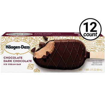 Haagen-Dazs, Chocolate Dark Chocolate Bar, 3.67 oz. (12 Count)