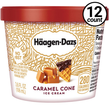 Haagen-Dazs, Caramel Cone Ice Cream, 3.6 oz. Mini-Cup (12 Count)