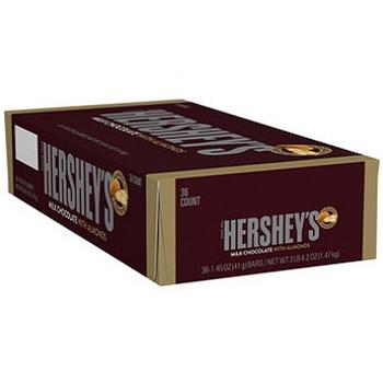 Hershey's, Milk Chocolate Bar with Almonds, 1.45 oz. (36 Count)