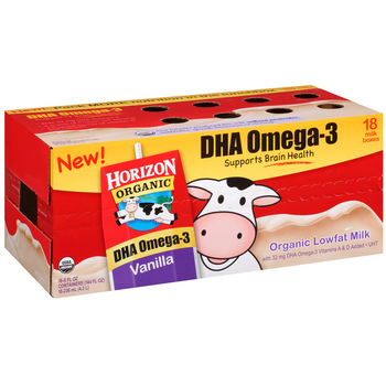Horizon Organic, Lowfat Vanilla Milk, 8 oz. Carton (18 Count Case)