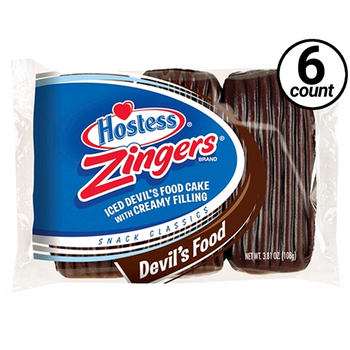 Hostess, Chocolate Zingers, 3.81 oz. Pack (6 Count)
