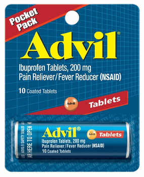 Advil Pain Reliever/Fever Reducer Tablets, 200 mg, 10 Tablets (1 Count)