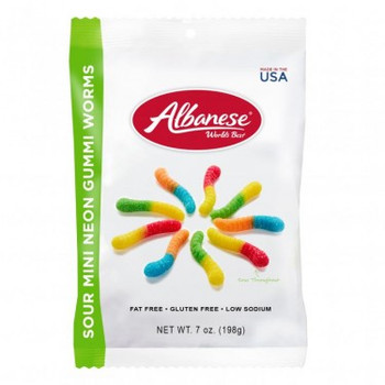 Albanese, Sour Neon Mini Worms, 7 oz. Peg Bag (1 Count)