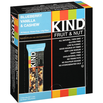 KIND, Fruit & Nut, Blueberry Vanilla & Cashew, 1.4 oz. (12 Count)