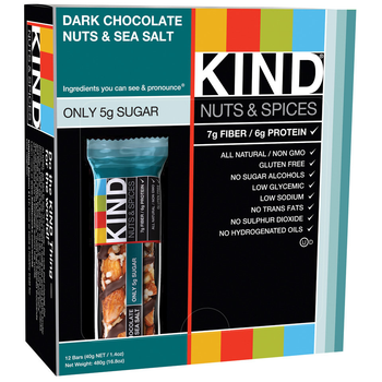 KIND, Nuts & Spices, Dark Chocolate Nuts & Sea Salt, 1.4 oz. Bars (12 Count)