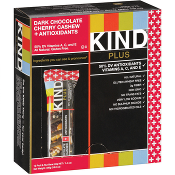 KIND PLUS, Dark Chocolate Cherry Cashew + Antioxidants, 1.4 oz. Bars (12 Count)
