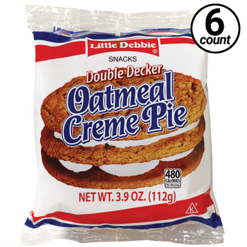 Little Debbie, Double Decker Oatmeal Cream Pie, 3.9 oz. (6 Count)
