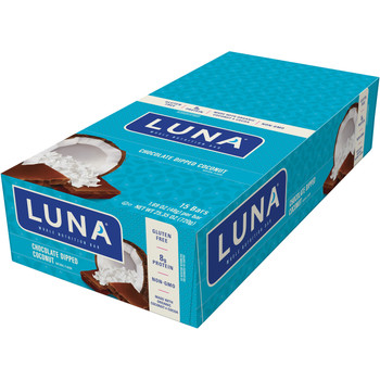 LUNA Bars, Chocolate Dipped Coconut, 1.69 oz. Bars, (15 Count)