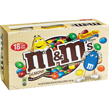 M&M's, Chocolate Candies, Almond, Sharing Size, 2.83 oz. Bags (Case of 18)