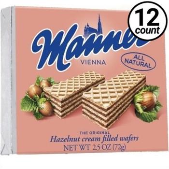 Manner Vienna, Hazelnut Cream Filled Wafers, 2.54 oz. (12 Count)