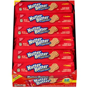 Nutter Butter, Peanut Butter Sandwich Cookies, 1.9 oz. (12 Count)