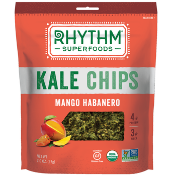 Rhythm Superfoods, Kale Chips, Mango Habanero, 2.0 oz. Bag (1 Count)