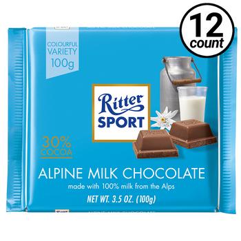 Ritter Sport, Alpine Milk Chocolate, 3.5 oz. Bars (12 Count)