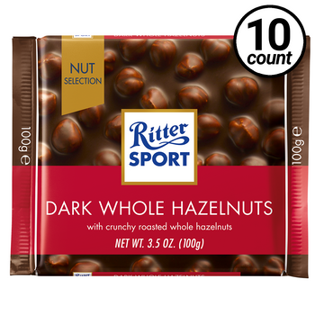 Ritter Sport, Dark Chocolate with Whole Hazelnuts, 3.5 oz. Bars (10 Count)