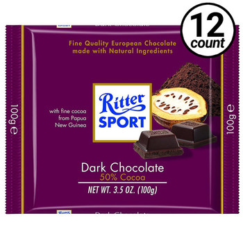 Ritter Sport, Dark Chocolate, 3.5 oz. Bars (12 Count)