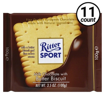 Ritter Sport, Milk Chocolate with Butter Biscuit, 3.5 oz. Bars (11 Count)
