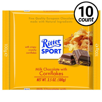 Ritter Sport, Milk Chocolate with Corn Flakes, 3.5 oz. Bars (10 Count)