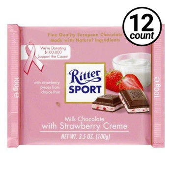 Ritter Sport, Milk Chocolate with Strawberry Creme, 3.5 oz. Bars (12 Count)