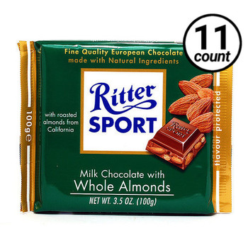 Ritter Sport, Milk Chocolate with Whole Almonds, 3.5 oz. Bars (11 Count)