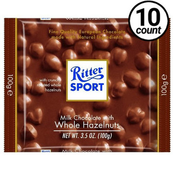 Ritter Sport, Milk Chocolate with Whole Hazelnuts, 3.5 oz. Bars (10 Count)