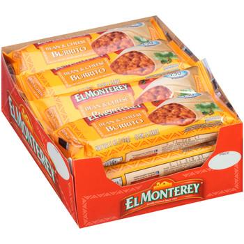 Ruiz Foods, El Monterey Bean & Cheese Burrito, 5.0 oz. Microwavable Burrito (24 Count)