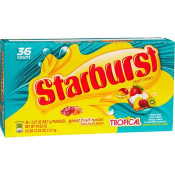 Starburst Fruit Chews Tropical, 2.07 oz. Pack (36 Count)