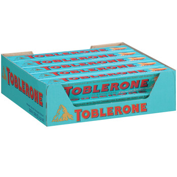 Toblerone Swiss Milk Chocolate with Salted Caramelized Almonds and Honey and Almond Nougat, 3.52 oz. Bars (20 Count)