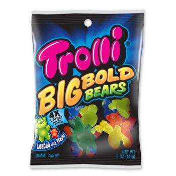 Trolli, Gummi Candy, BIG Bold Bears, 5 oz. Peg Bag (1 Count)