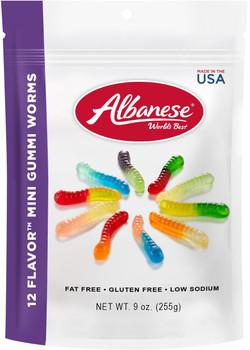 Albanese, 12 Flavor Mini Gummi Worms, 9.0 oz. Peg Bag (1 Count)