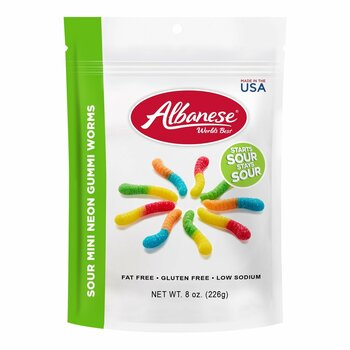 Albanese, Sour Mini Neon Gummi Worms, 8.0 oz. Bag (1 Count)