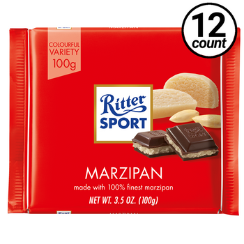 Ritter Sport, Dark Chocolate with Marzipan, 3.5 oz. (12 Count)