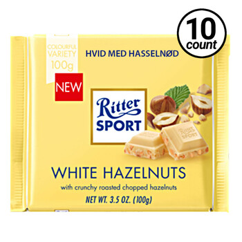 Ritter Sport, White Chocolate with Hazelnuts, 3.5 oz. (10 Count)