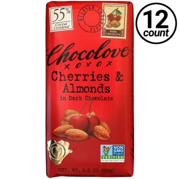 Chocolove, Cherries & Almonds in Dark Chocolate 55% Cocoa, 3.2 oz. Bars (12 Count)