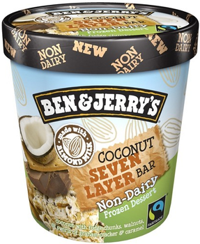 Ben & Jerry's, NON-DAIRY Coconut Seven Layer Bar Ice Cream, Pint (1 Count)