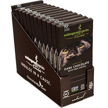 Endangered Species Chocolate All-Natural, Panther, Extreme Dark Chocolate, 88% Cocoa, 3.0 oz. Bar (12 Count)