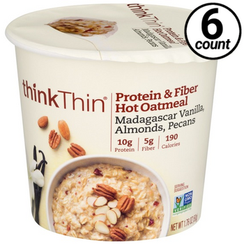 thinkThin Protein & Fiber Hot Oatmeal, Madagascar Vanilla, Almonds, Pecans, 1.76 Oz Cup (6 Count)