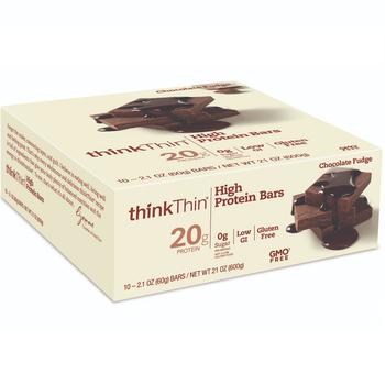 thinkThin High Protein Bar, Chocolate Fudge, 2.1 Oz (10 Count)