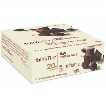 thinkThin High Protein Bar, Brownie Crunch, 2.1 Oz (10 Count)