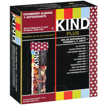 KIND Plus, Cranberry Almond + Antioxidants, 1.4 oz. bars (12 count)